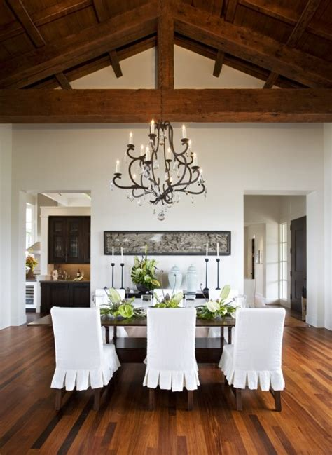 Chandelier For Cathedral Ceiling White Slipcovered Dining Chairs Design Ideas