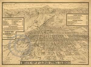 vintage colorado map 1909 historical wall map colorado springs bird s eye