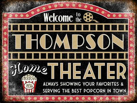 custom home theater sign metal sign by freedsoulsdesign