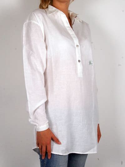 Burberry summery white linen tunic with tie back detail women s long