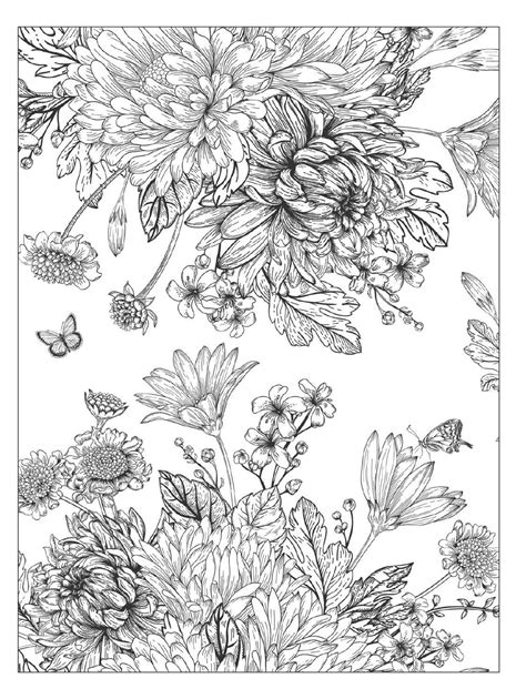 detailed garden coloring pages beautiful flowers detailed floral designs coloring book
