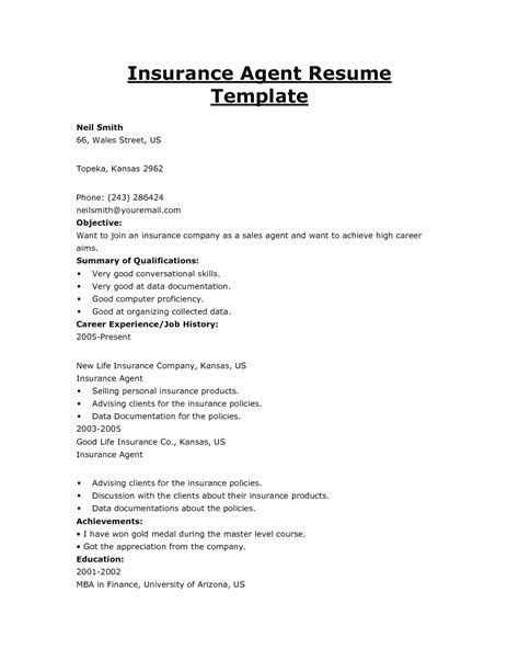 Insurance Resume Template by 2016 Insurance Broker Resume Objective Sles Recentresumes