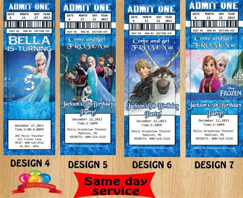 printable frozen movie ticket invitations frozen movie ticket invitations same day by