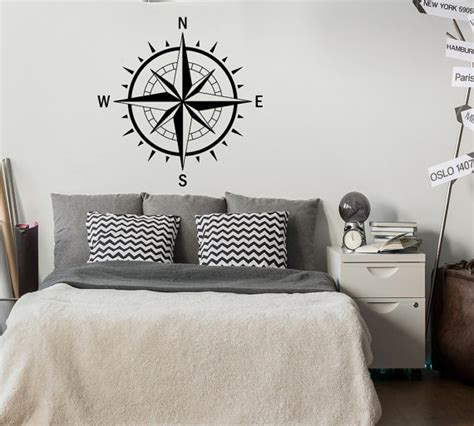 Nautical Bedroom Wall Decor Compass Wall Decal Nautical Bedroom Decor Nautical Decal
