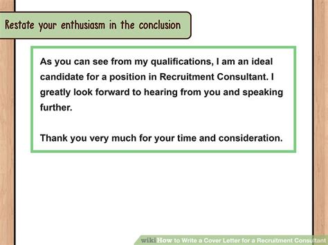 cover letter to consultant for job how to write a cover letter for a recruitment consultant