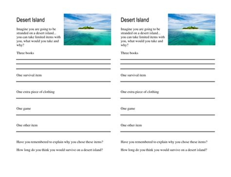 trapped on an island worksheet what would you take to a desert island by ambermt
