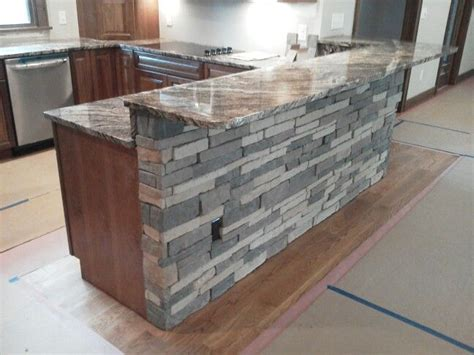 stone counter bar counter accent wall stack stone manufactured stone