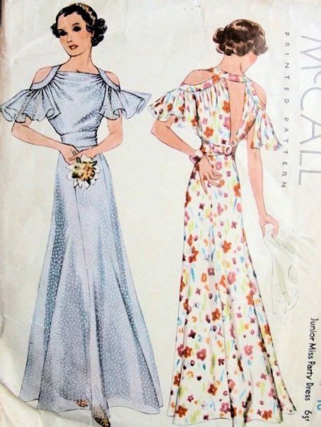 Mccall Butterfly Sleeve Dress by 1930s Gorgeous Bias Cut Evening Gown Dress Pattern