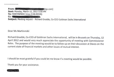 Request Letter To Commissioner What Was Discussed During Commissioner Rehn S Meetings With Goldman Sachs Commissioner Has