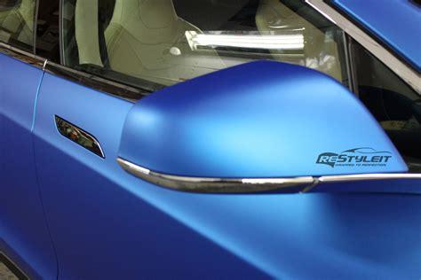 Tesla Aluminum Matte Blue Aluminum Tesla Model S Vinyl Car Wrap Car