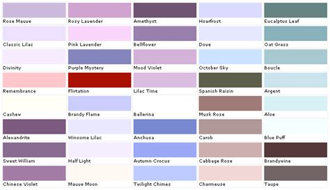mauve color chart pratt and lambert colors house paint color chart chip