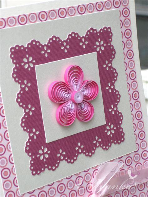 Paper Greeting Cards - beautiful paper quilling greeting card in shades of pink for