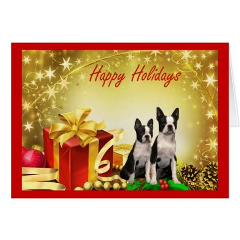 boston terrier christmas gifts greeting card zazzle