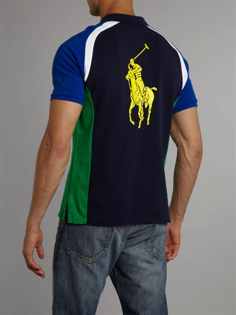 big clothing polo ralph us open big pony back printed polo shirt in blue for lyst