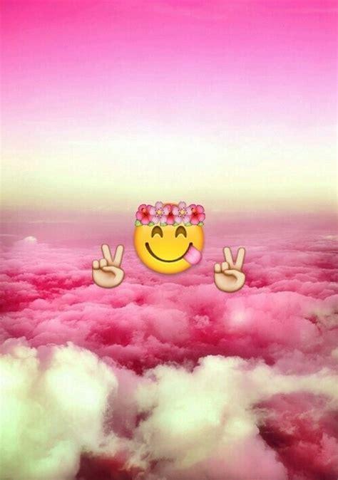 emoji wallpaper pink background backgrounds clouds colour emoji pink