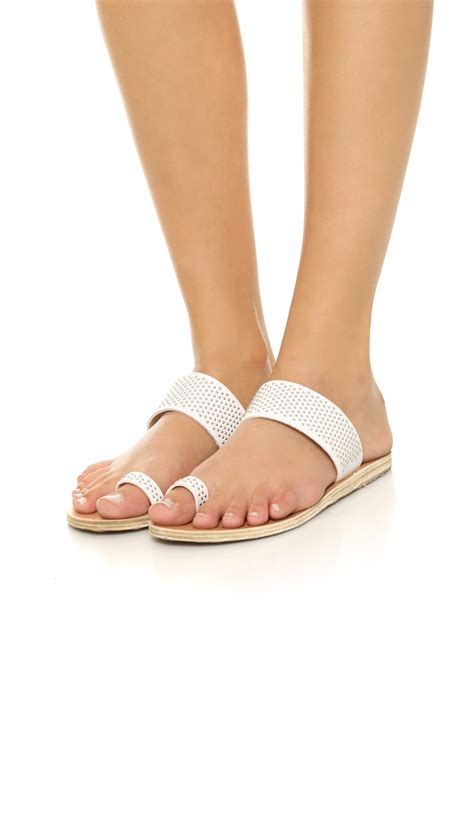 Sandals Around Toe For by Ancient Sandals Thraki Toe Ring Sandals Silver White In Metallic Lyst