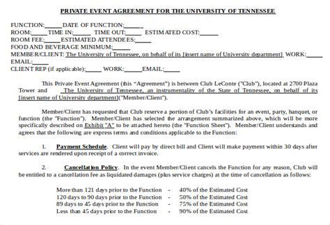 Event Management Agreement Template by Event Contract Template 18 Free Word Excel Pdf