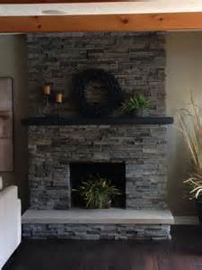 stacked brick fireplace remodel quartz hearth