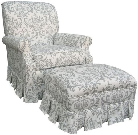 shabby chic grey and white damask upholstered adult rocker
