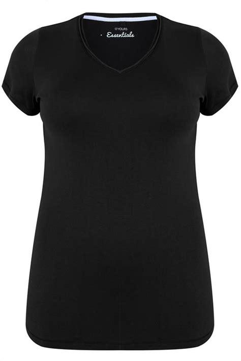 Black Short Sleeved V-Neck Basic T-Shirt Plus Size 16 to 36