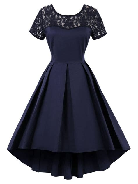 Vintage Lace Insert High Low Dress 2018 vintage lace insert high low dress purplish blue xl