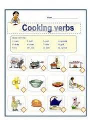 esl worksheets for beginners cooking verbs