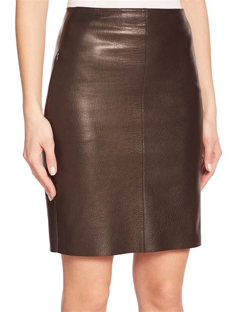 brown patterned pencil skirt lyst akris nappa leather pencil skirt in brown