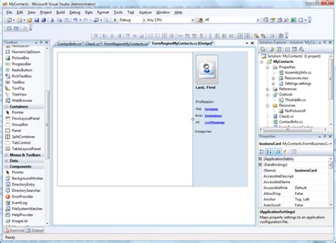 design form studio create an outlook 2007 form region by using vsto 2008
