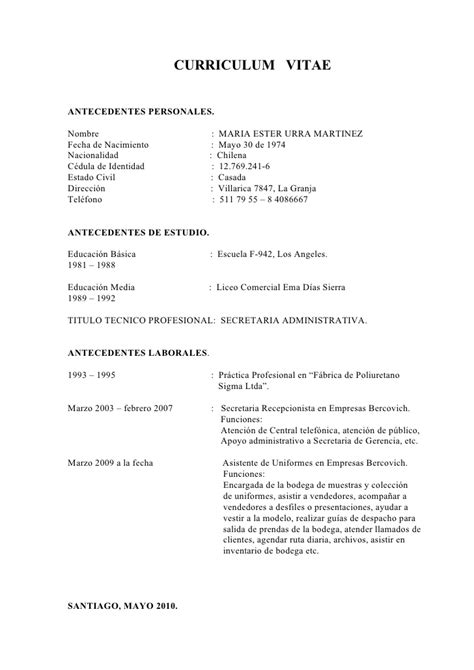 Modelo Curriculum Vitae Chileno Estudiante Curriculum Vitae Doc Meu 1