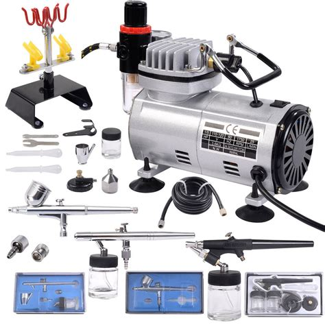 airbrush tattoo kit new 3 airbrush compressor kit dual spray air