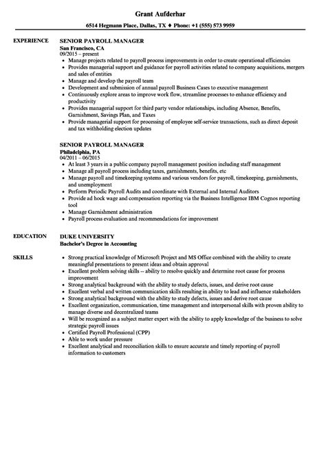 Senior Payroll Manager Resume Sles Velvet Jobs Payroll Manager Resume Template