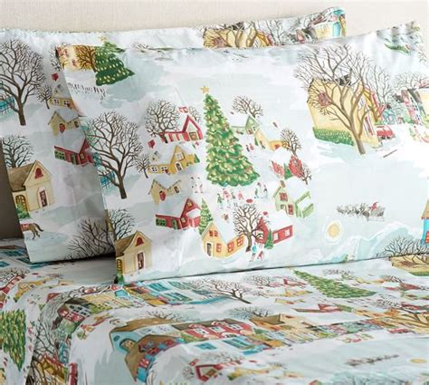 pottery barn christmas bedding snow village sheet set pottery barn