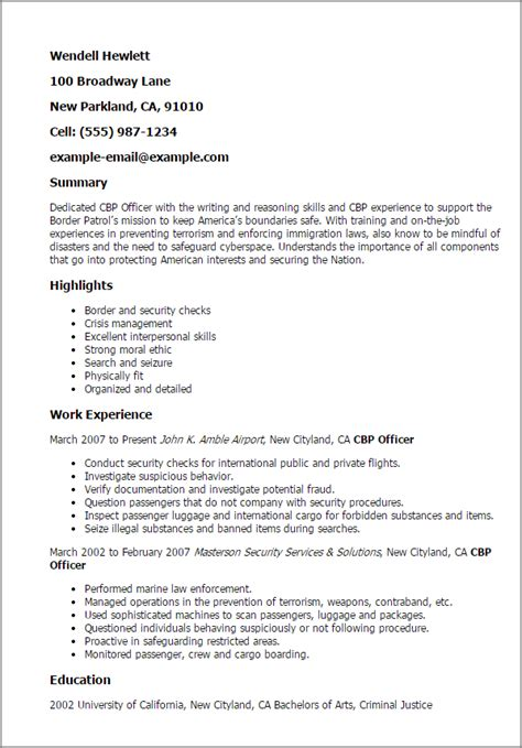 Customs And Border Protection Officer Sle Resume by Custom Curriculum Vitae Writing Site Ca