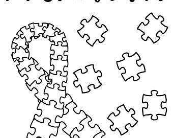 coloring page of autism ribbon autism puzzle piece etsy