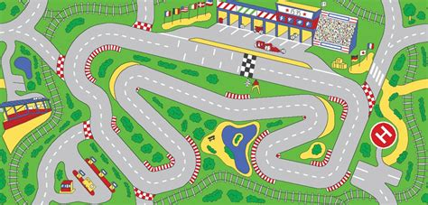 Racetrack Play Rug Rectangle 36 Quot X 80 Quot Lc205 Learning Car Track Rug