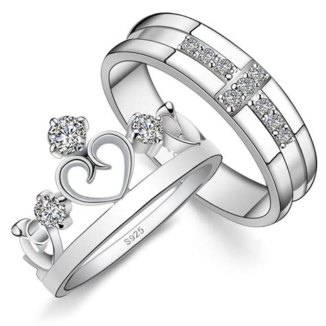 His & Hers Matching Couple Sterling Silver Engagement