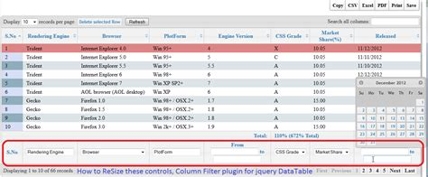 Jquery Data Table by How To Resize Column Filter Plugin Controls For Jquery