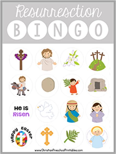 printable board games for sunday school easter resurrection bible bingo game
