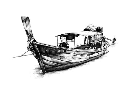 traditional boat drawing antique boat sea motive drawing handmade stock