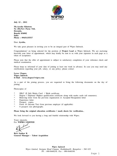 Offer Letter Sle Chennai Wipro Offer Letter Companies Bangalore
