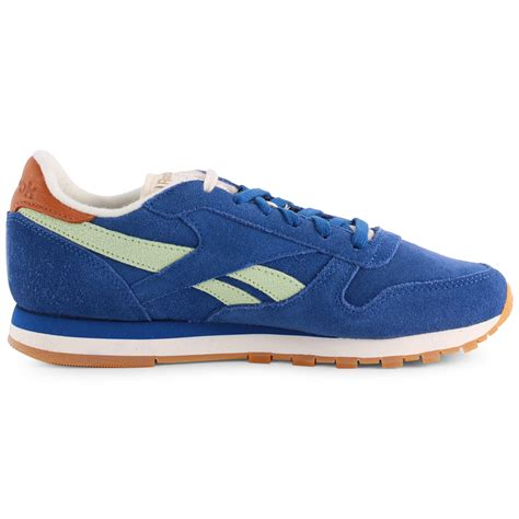 classic shoes reebok classic leather womens suede royal blue trainers