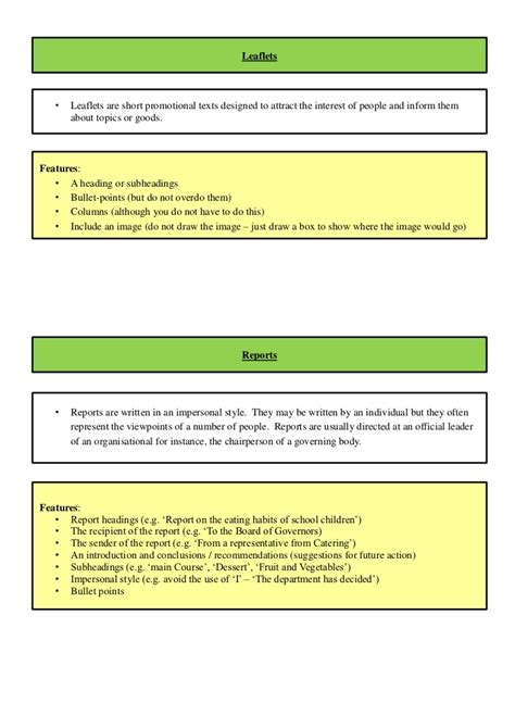 layout features gcse english revision booklet for gcse english unit 2 exam