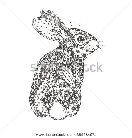 rabbit pattern drawing coloring page stock photos images pictures shutterstock