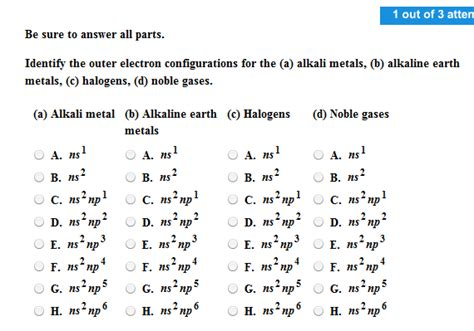 tutorial questions on electron configuration solved be sure to answer all parts identify the outer el