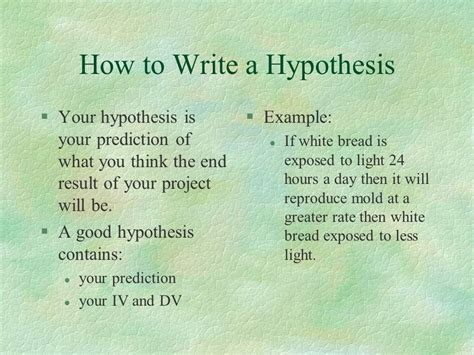 how to write a hypothesis in a research paper 6 steps to follow to be a science fair success ppt