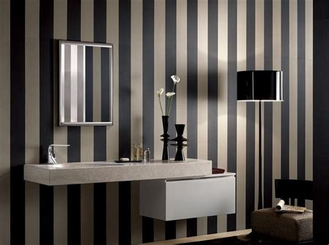 striped wallpaper bathroom striped wallpaper large bathroom pinterest