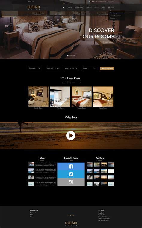 black gold hotel website template sketch design