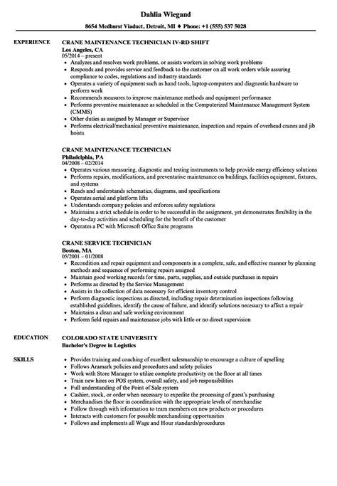 overhead crane operator resume sketch exle