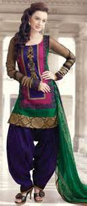 Green and pink chanderi art silk readymade patiala suit 155 76