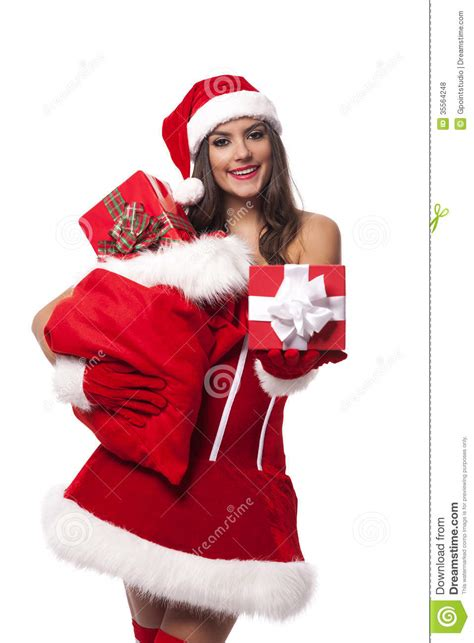santa girl with gifts stock photo image of positivity